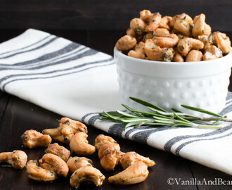 Sweet and Spicy Maple Roasted Rosemary Cashews