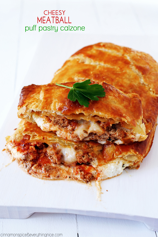 Cheesy Meatball Puff Pastry Calzone