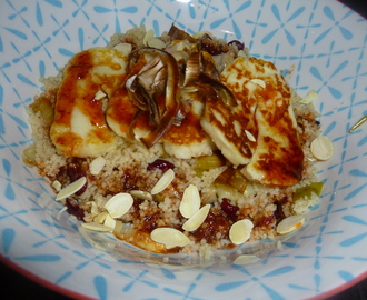 Halloumi on Roasted Leek Couscous with a Harissa Dressing Recipe