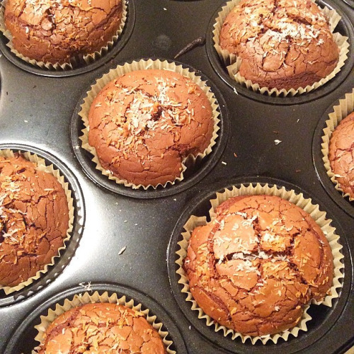 Double Chocolate Nutella Muffins.  Ingredients: - 1 cup of...