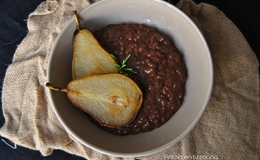Chocolate and rosemary risotto with fried pears
