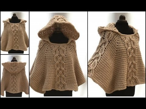 crochet poncho trenzas facil how to do (subtittles in several lenguage)