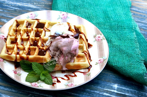 Belgian Waffles (with Salted Caramel and Ice Cream)