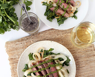 Chia-Chimichurri Steak with Spiralized Turnip-Chard Pasta