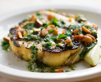 A Real Winner: Seared Cauliflower Steaks with Salsa Verde and Almonds