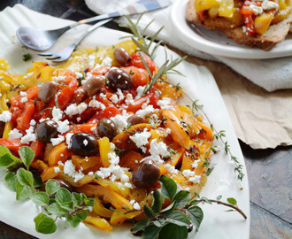 Roasted Pepper Salad with Kalamata Olives & Fresh Herbs