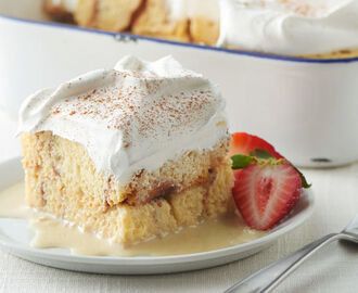 Overnight Cinnamon Roll Tres Leches Cake