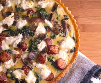 Spinach Mushroom Sausage Quiche with Goat Cheese