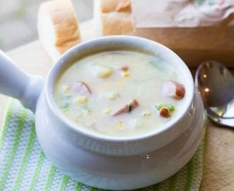 Cheesy Corn and Kielbasa Chowder