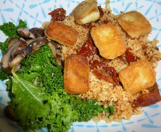 Sun Dried Tomato Couscous with Mushroom's, Kale and Saganaki Recipe
