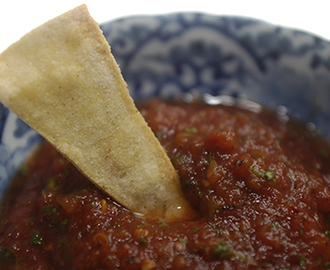 Best Fire Roasted Tomato Salsa Ever and Baked Tortilla Chips