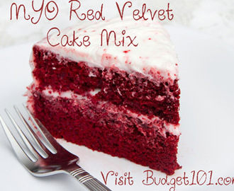 Homemade Red Velvet Cake Mix- a simple make ahead red velvet cake mix convenience recipe that you can store in your pantry until you're ready to make a last minute dessert, or as a delicious homemade gift mix