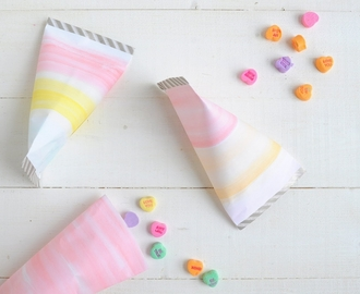 diy watercolor treat bags