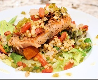 Grilled Salmon with Sweet Corn and Plum Tomato Salsa, Sweet Potato Wedges, and Green Pepper Vinaigrette