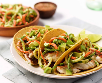 Jerk Tilapia Fish Tacos with Zoodle Slaw