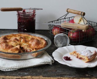 Apple yoghurt pie with cranberry jam