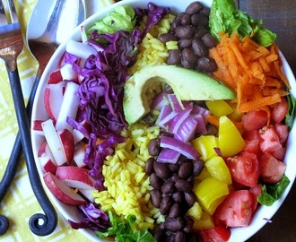 Veggie Burrito Bowl with Yellow Rice and Cilantro Lime Vinaigrette