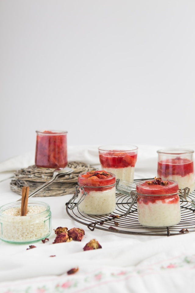COCONUT RICE PUDDING WITH ROSE AND RHUBARB JELLY