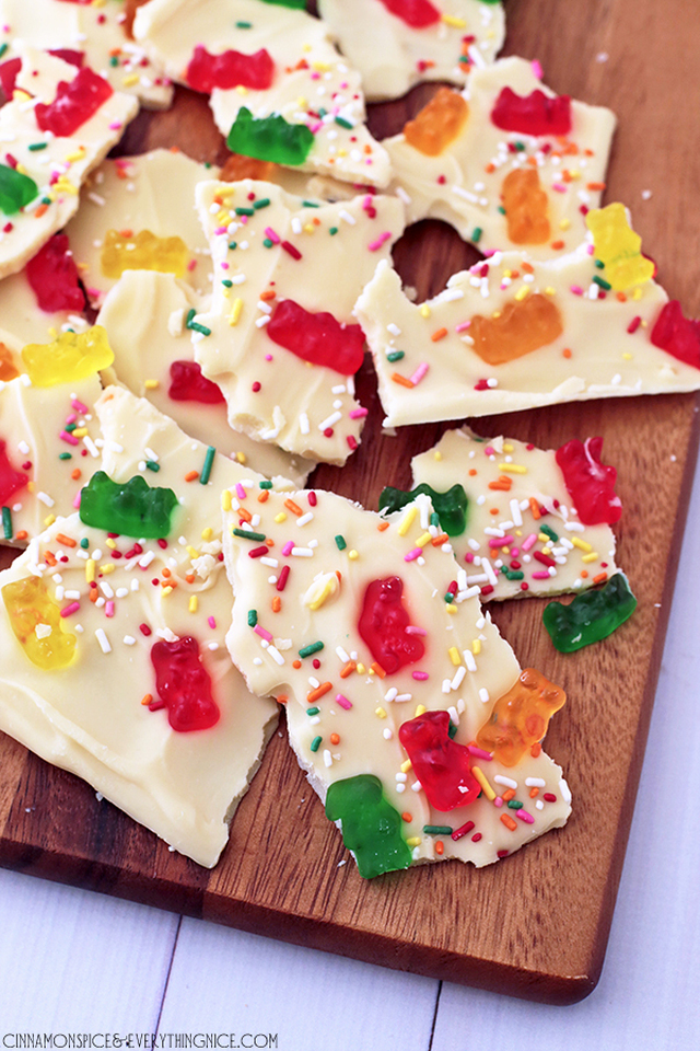 White Chocolate Gummi Bear Bark