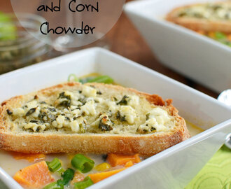 Southwestern Sweet Potato and Corn Chowder with Feta Crostini