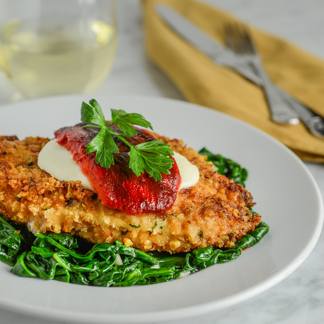 Parmesan Chicken with Spinach and Roasted Red Peppers
