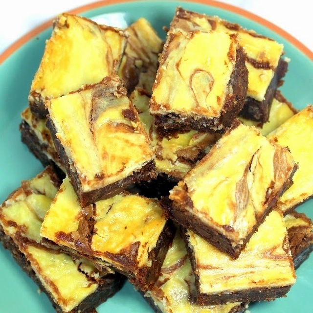 Chocolate Cream Cheese Marbled  FUDGE BROWNIES (Double Chocolate) - 52 Cookie Recipes