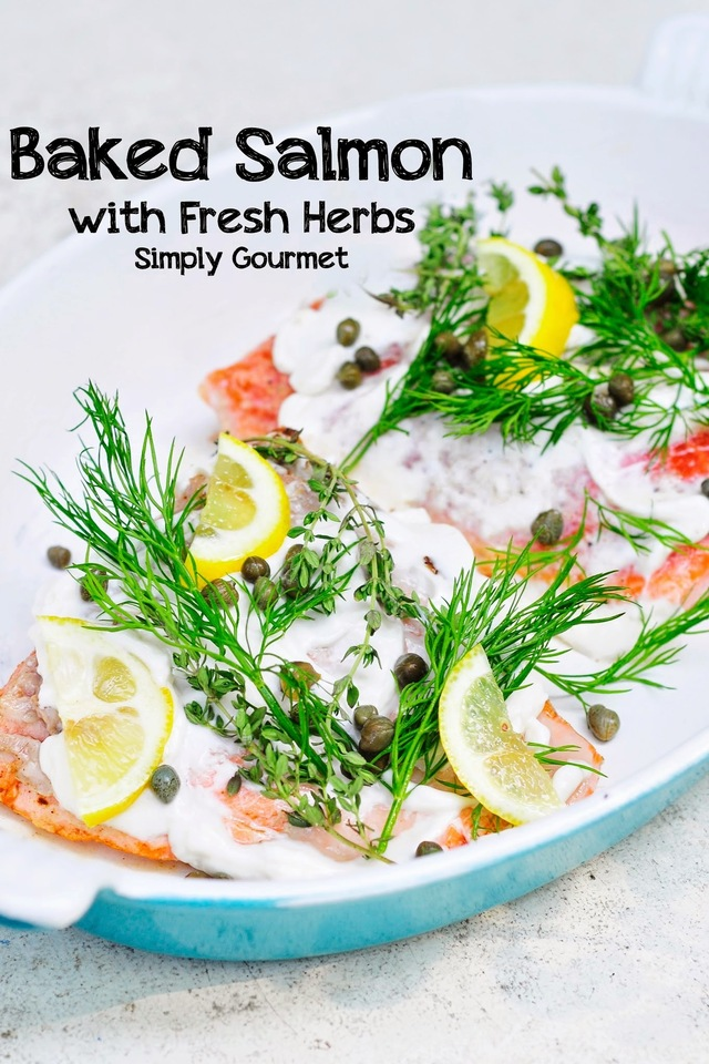 Baked Salmon with Capers, Herbs, and Lemon