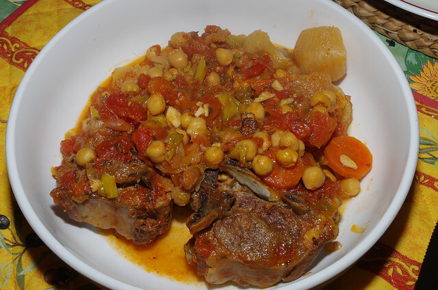 Neck of lamb casserole with chickpeas