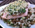Panko Crusted Salmon with Barley & Lentils Side