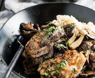 Pan Fried Chicken and Mushrooms with Creamy Cauliflower Mash