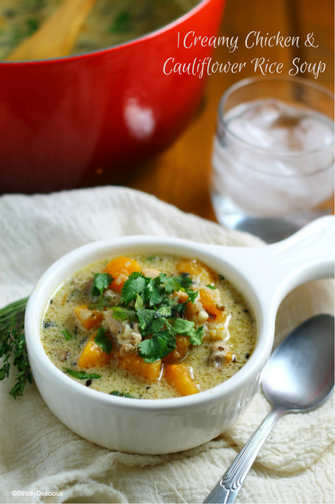 Paleo Creamy Chicken & Cauliflower Rice Soup