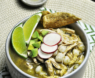 Chicken Pozole (Posole) Verde with Roasted Jalapeños & Tomatillos