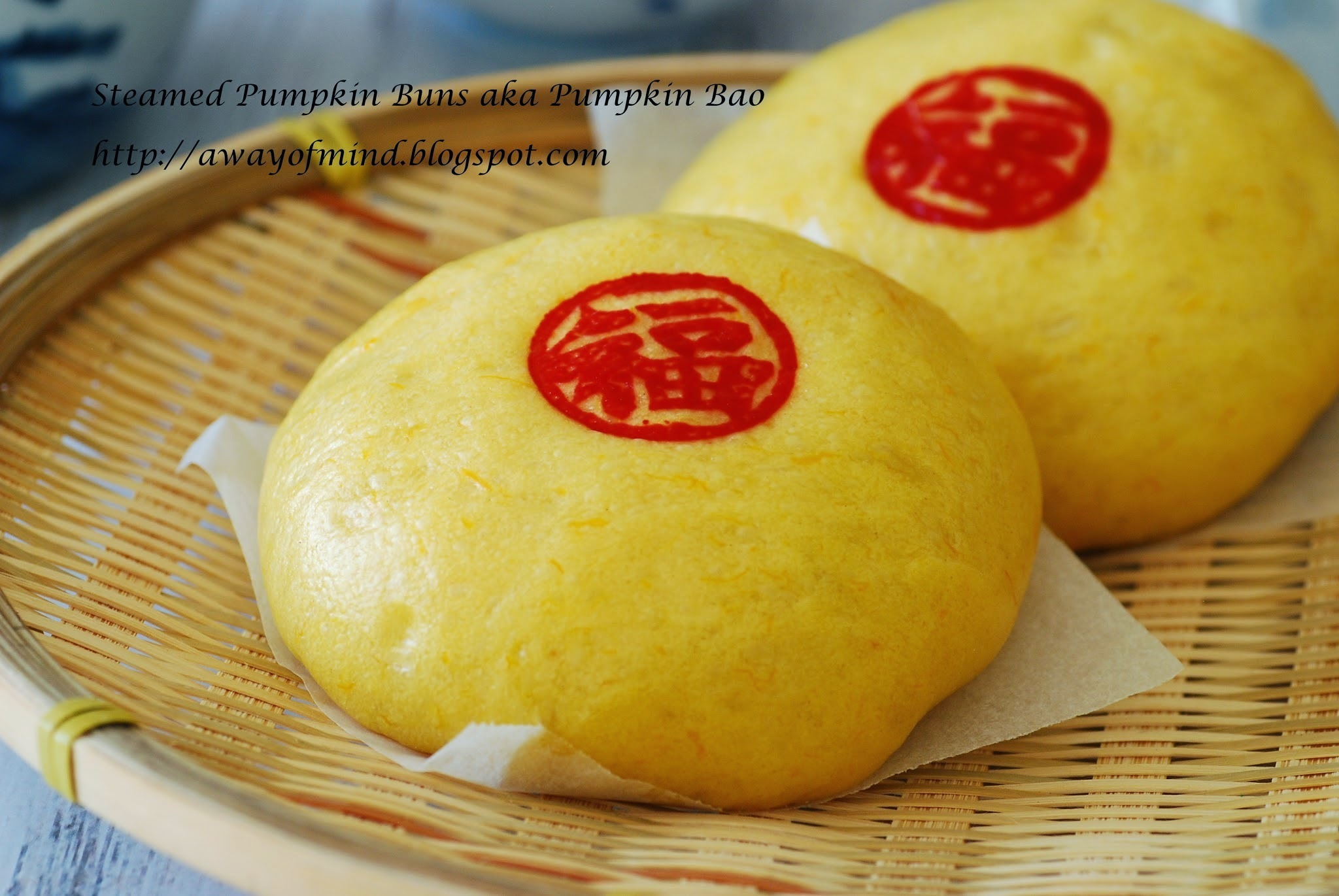 Steamed Pumpkin Buns aka Pumpkin Bao with chicken filling