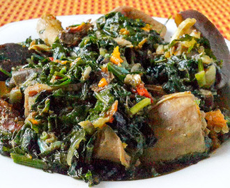 Nigerian Vegetable Soup---crisp and fresh with a very vibrant colour.