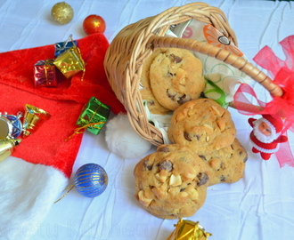 Eggless Cardamom Chocolate-Chip Cashew-nut Cookies
