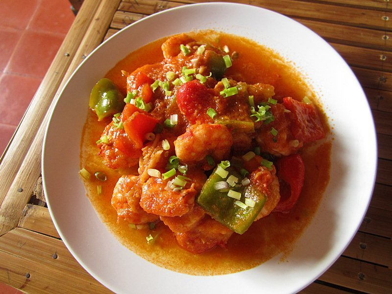 Chili Prawn and Chili Kangkong