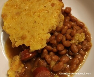 Crock Pot Hot Dog, Baked Beans, and Cornbread Casserole