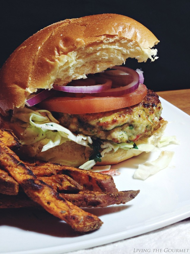 Greek Style Chicken Burgers with Fresh Slaw and Sweet Potato Fries