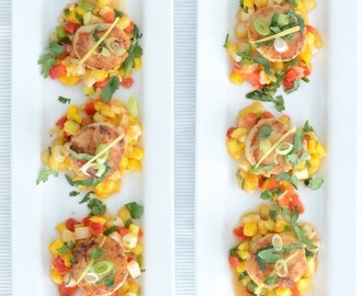 PAN SEARED SEA SCALLOPS W/ MANGO SALSA (paleo friendly)