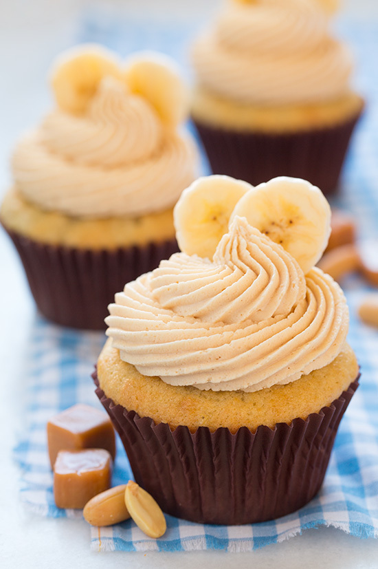Banana Cupcakes with Salted Caramel Peanut Butter Frosting