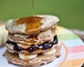 Banana Pancake Stacks with Lime Butter Syrup