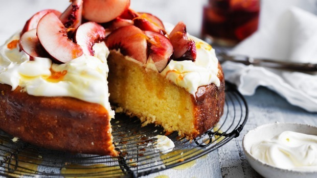 Coconut and yoghurt cake recipe with fresh peach compote and whipped cream