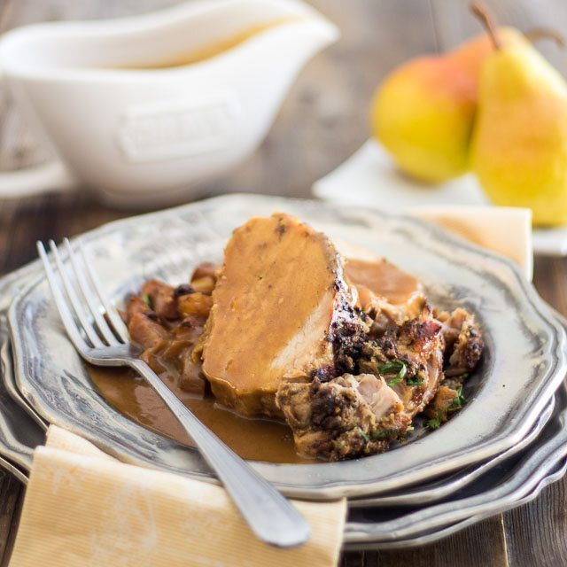Slow Cooker Pear and Raisin Pork Loin Roast