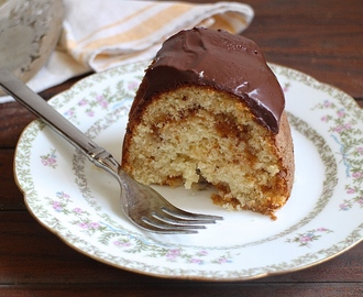Almond Apricot Bundt Cake with Dark Chocolate Ganache #BundtBakers