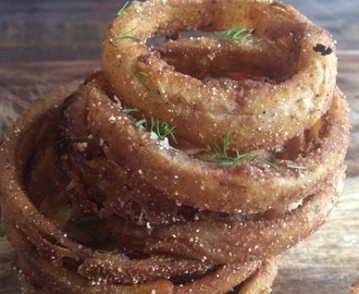 Cornmeal-Fried Onion Rings with Dill Dipping Sauce