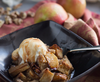 Apple Walnut Bread Pudding with Cinnamon Cider Sauce