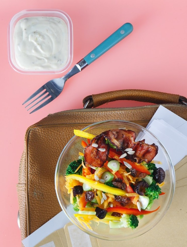 Colourful vegetable and bacon Winter salad with yoghurt dressing