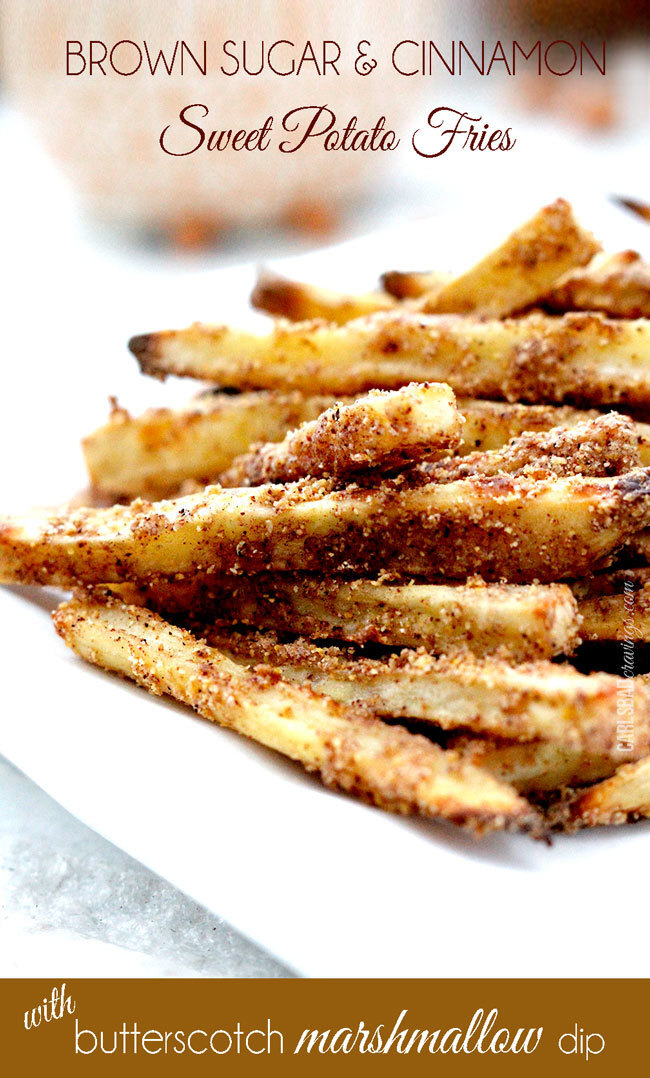 Brown Sugar & Cinnamon Sweet Potato Fries with Butterscotch Marshmallow Dip