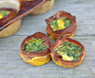 "Bacon Wrapped Egg, Spinach & Cheese ""Muffins"""