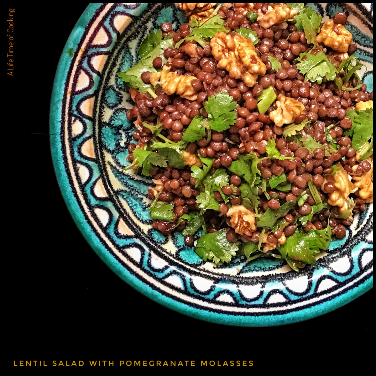 Black or Green Lentil Salad with Pomegranate Molasses